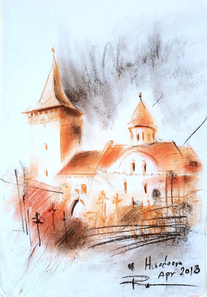 Biserica Sf. Nicolae din Hunedoara, 21x29cm pastel, 2018, 100€