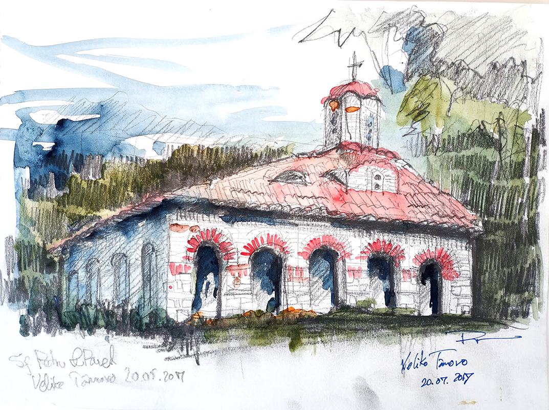 Veliko Târnovo, St. Peter and Paul Church – 21x29cm pencil & wash, 2017, 50€