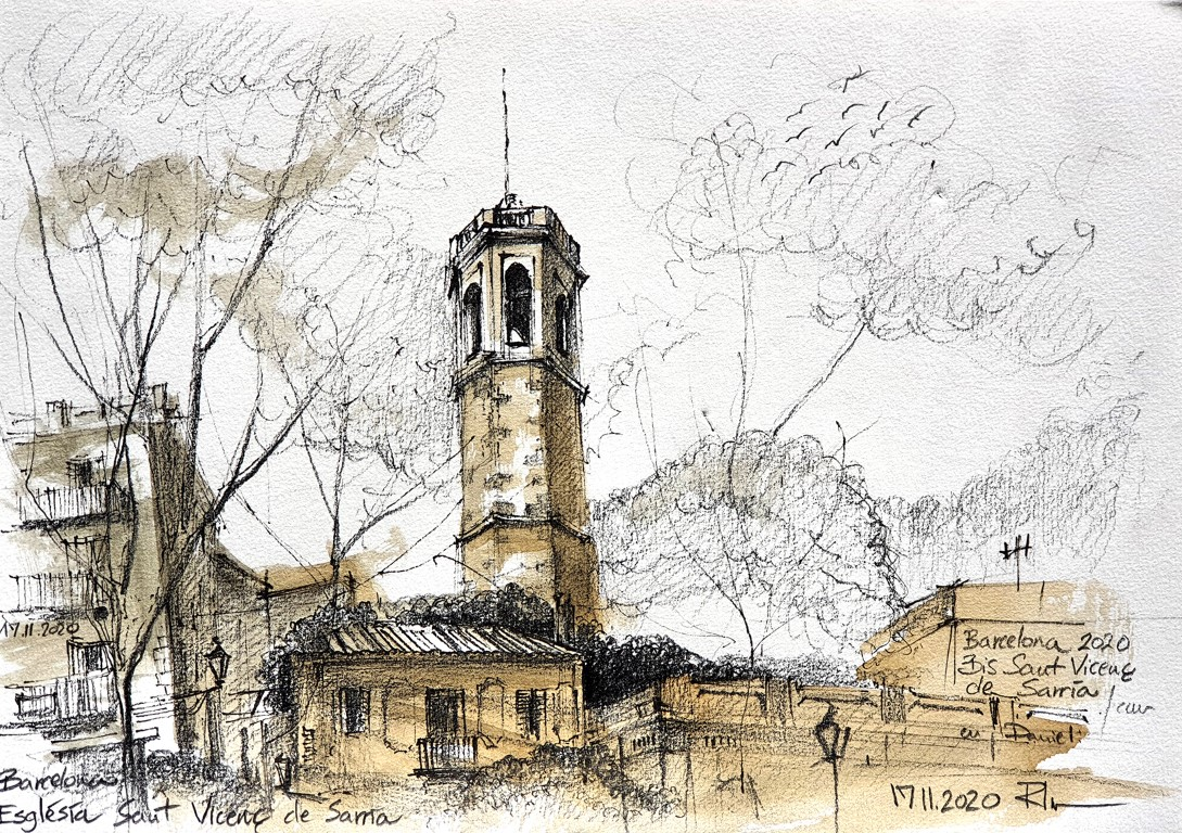 Iglesia Sant Vicenç, Barcelona – drawing 21x29cm, 60€