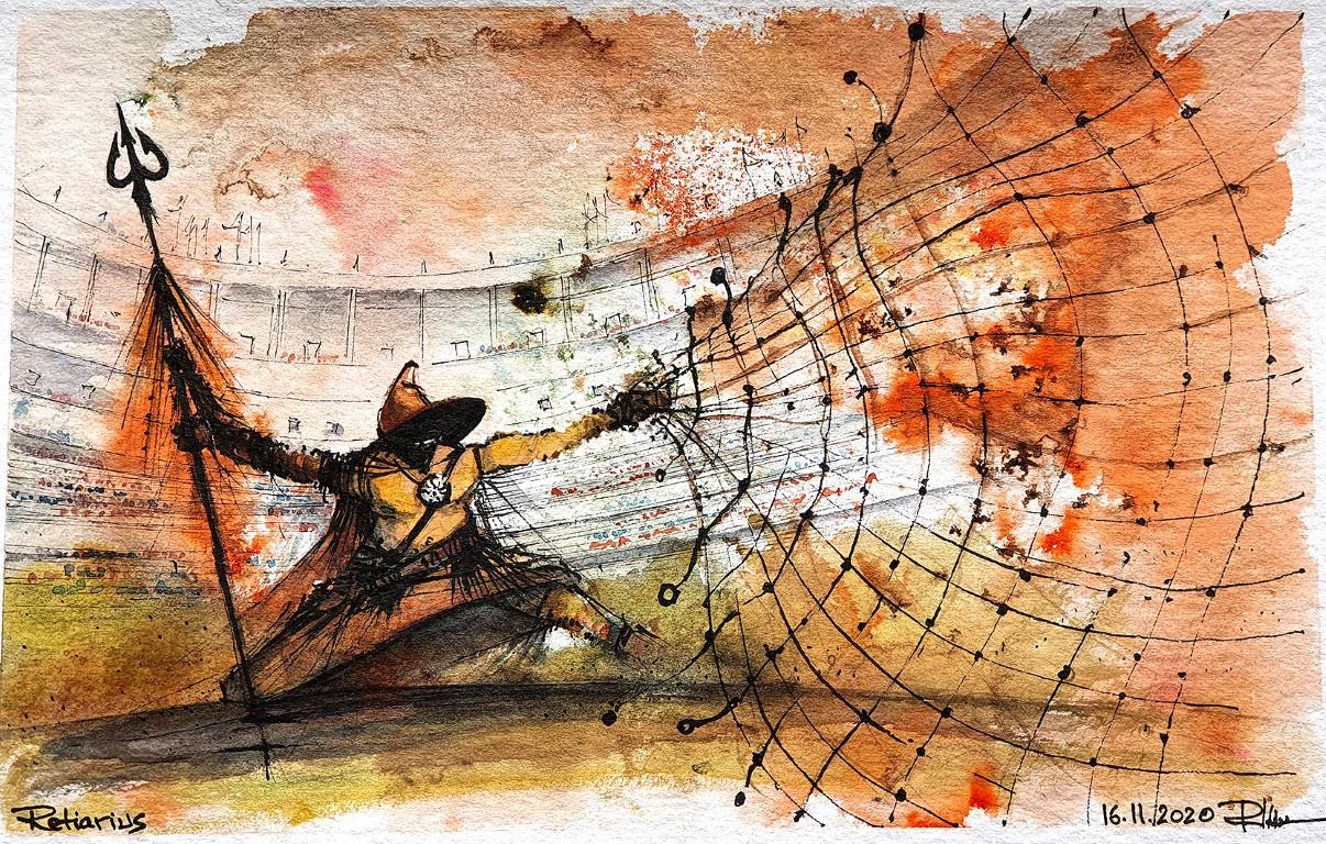 Retiarius, 20x30cm watercolour, 110€