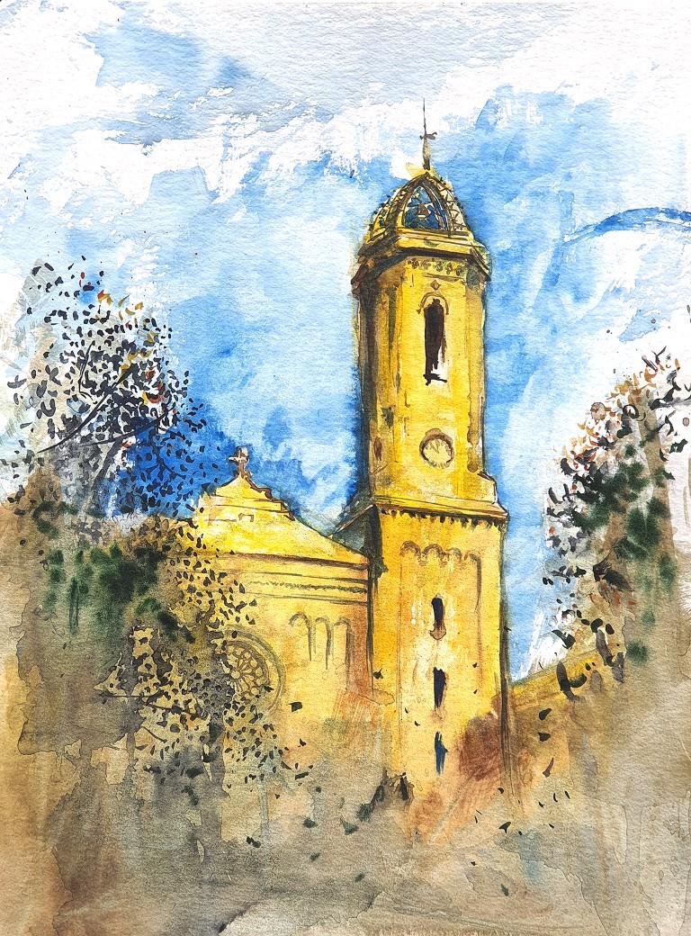Santa Maria del Remei, Barcelona – 30x40cm watercolour, 90€