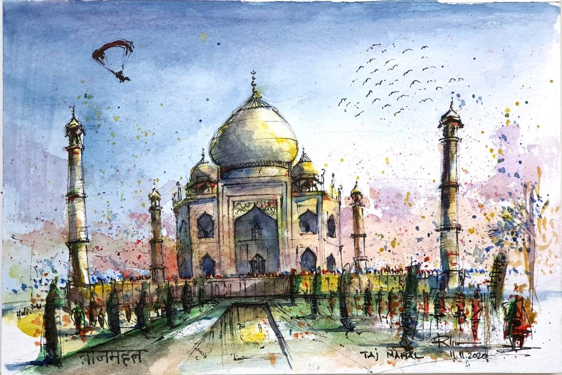 [sold] Taj Mahal de Diwali, 20x30cm watercolour