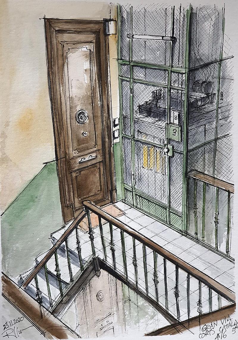 Gran Via 476, 30x40cm watercolour, 100€
