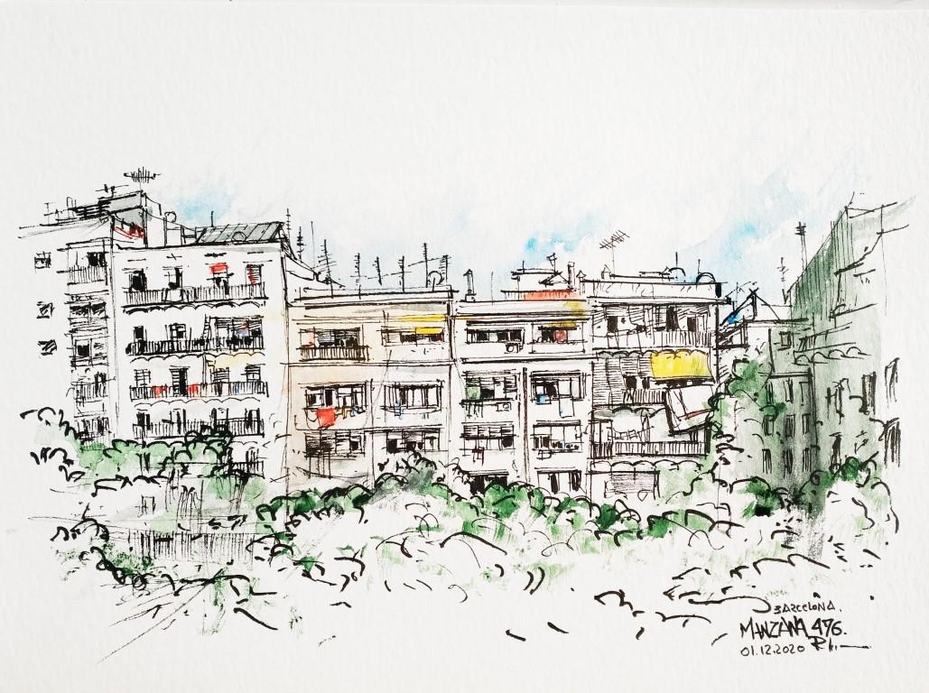 Manzana, Barcelona, 30x40cm watercolor, dec.2020, 100€