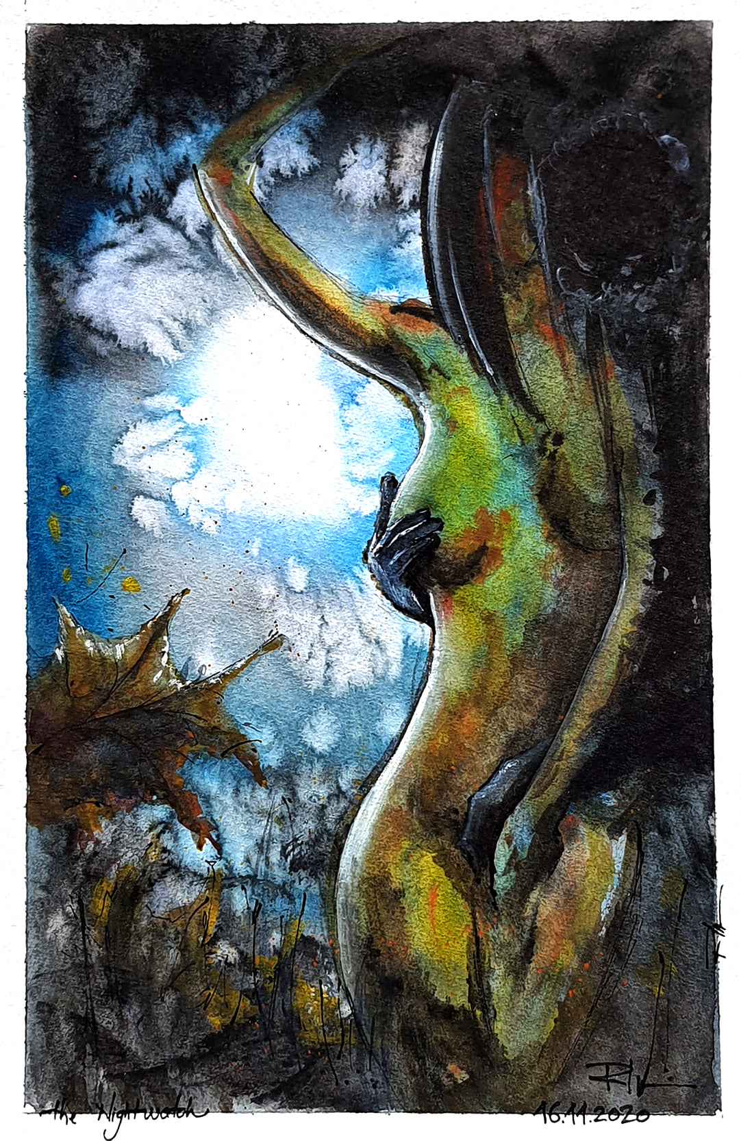 Umbra Nopții, 20x30cm watercolour, 125€