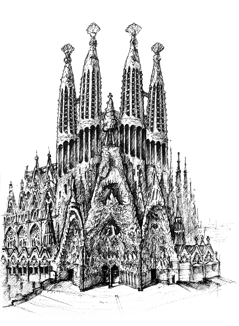 Sagrada Familia, Barcelona, 21x30cm ink, 2021, 100€