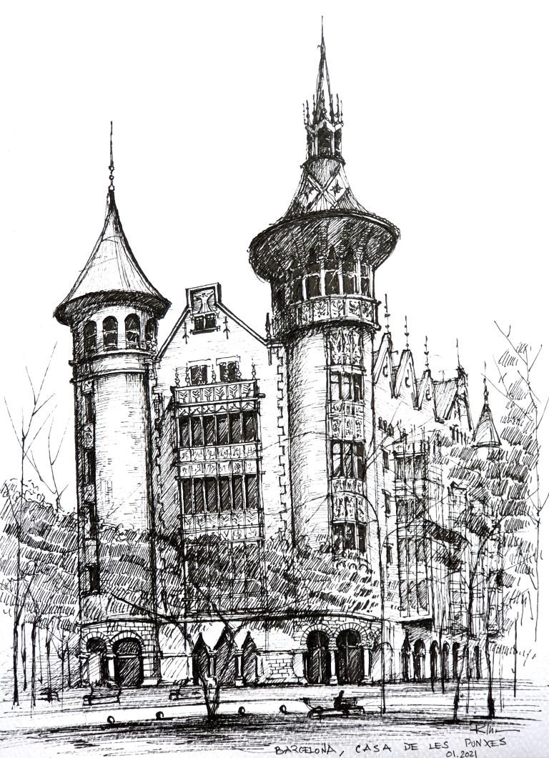 Casa de Les Punxes, Barcelona, 21x30cm, 2021, 110€
