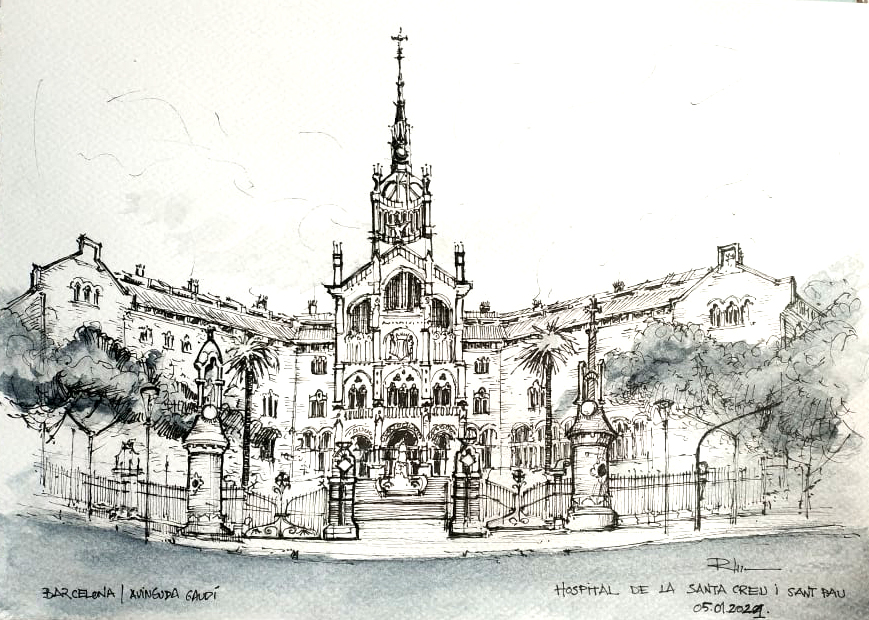 Hospital de la Santa Creu i Sant Pau, Barcelona , 21x30cm ink & wash, 2021, 80€