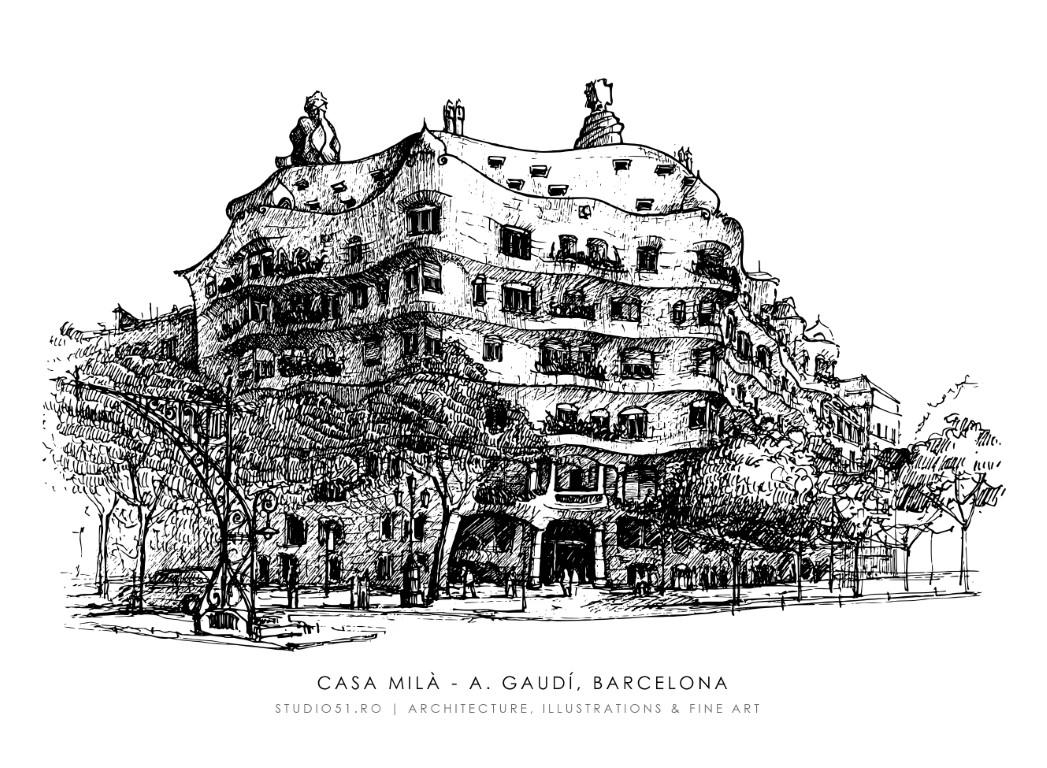 Casa Mila (Pedrera), Barcelona, 21x30cm, 2021, 80€