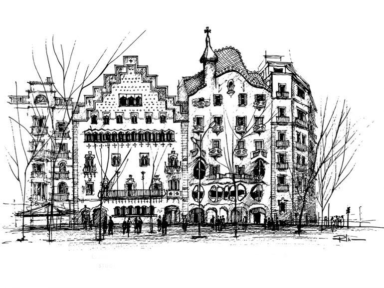 Casa Amatller & Casa Batllo, Barcelona, ink on paper 2021, 21x29cm [ 150€ ]