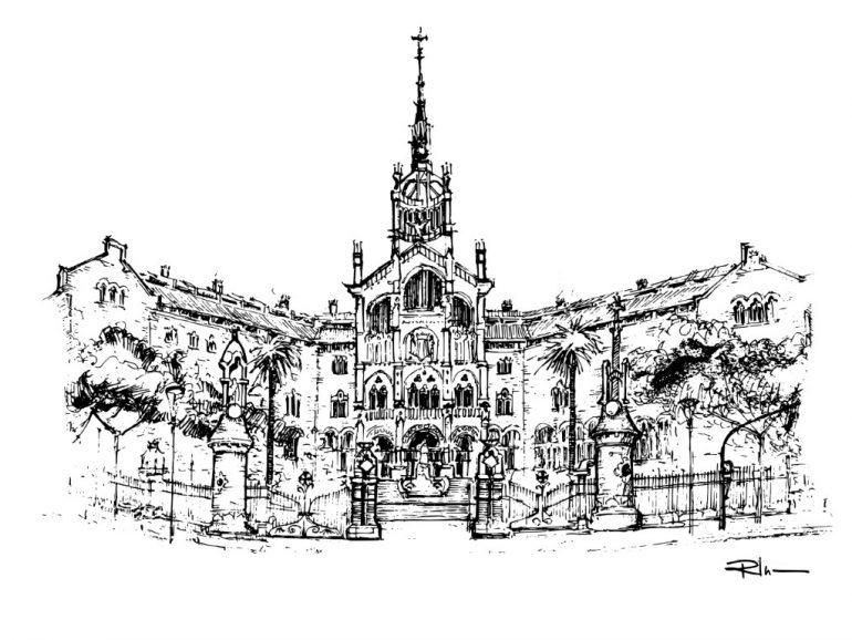 Hospital de Sant Pau- Barcelona, ink on paper 2021, 21x29cm [ 150€ ]