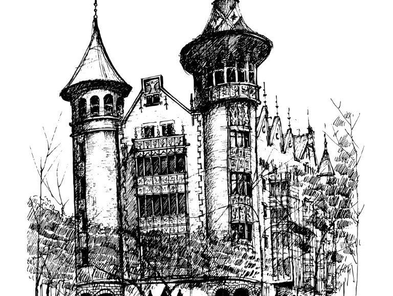 Casa de les Punxes, Barcelona, ink on paper 2021, 21x29cm [ 150€ ]