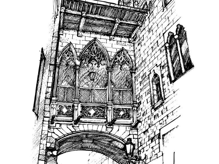 Puente del Bisbe, Barcelona, ink on paper 2021, 21x29cm [ 150€ ]