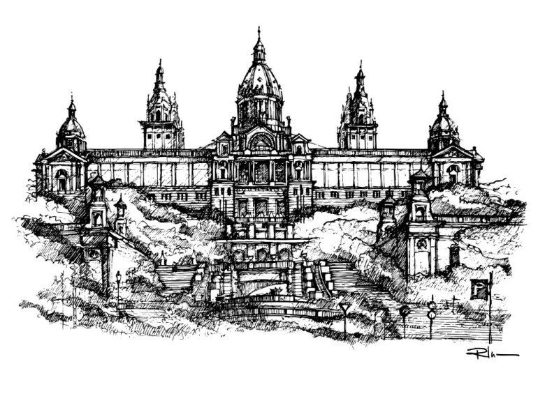 Palau Nacional, Barcelona, ink on paper 2021, 21x29cm [ 150€ ]