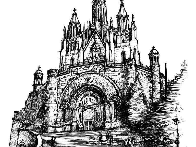 Catedral Tibidabo, Barcelona, ink on paper 2021, 21x29cm [ 150€ ]
