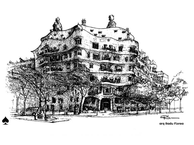 "Casa Mila ""La Pedrera"" – A. Gaudi, Barcelona, ink on paper 2021, 21x29cm [ 150€ ]"