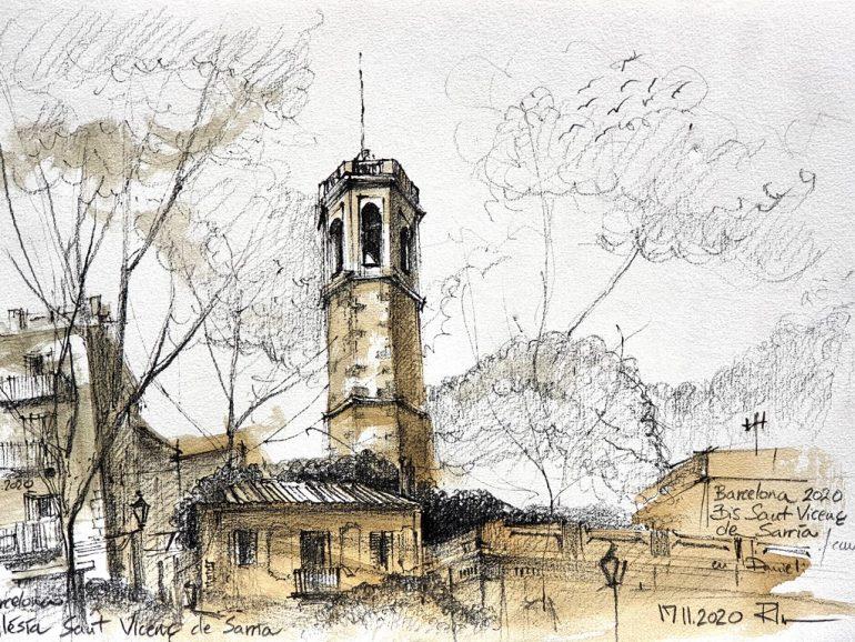 Iglesia Sant Vicenc de Sarria, Barcelona, ink&wash 2020, A4 [ 75€ ]