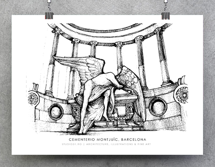 Cementerio Montjuic, Barcelona, ink on paper 2021 [sold – only available in print]