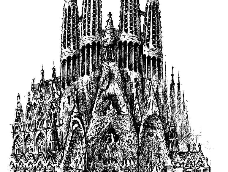 Sagrada Familia, Barcelona, ink on paper 2021, 21x29cm [ 150€ ]