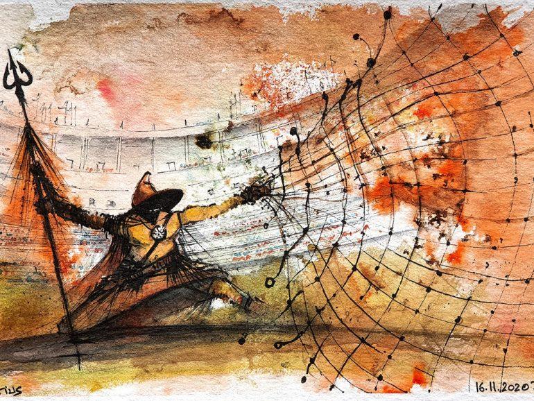 Retiarius gladiator, 2020 A4 watercolor [ 75€ ]