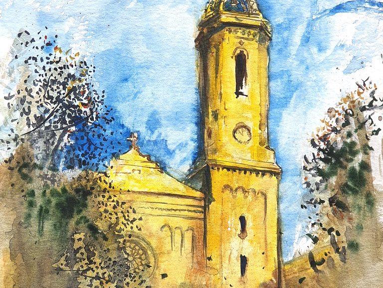 Santa Maria del Remei, Barcelona 2020 A3 watercolor  [ 175€ ]