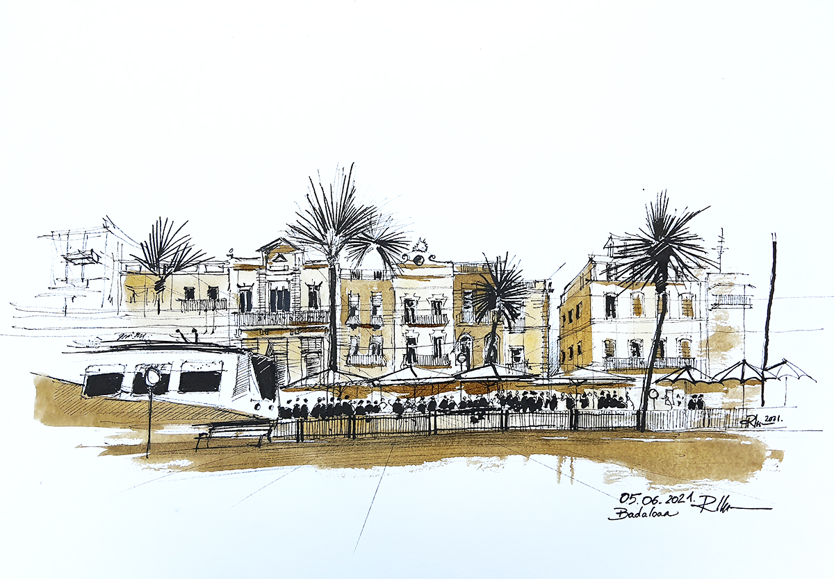 Badalona – the old city, 2021 sepia ink, 32x46cm [ 135€ ]