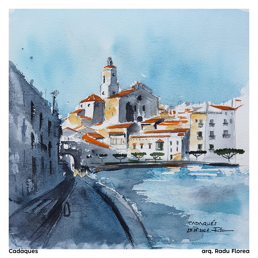 Cadaques, Alt Emporda Girona – Catalunya, 2021, 31x31cm watercolor [ 90€ ]