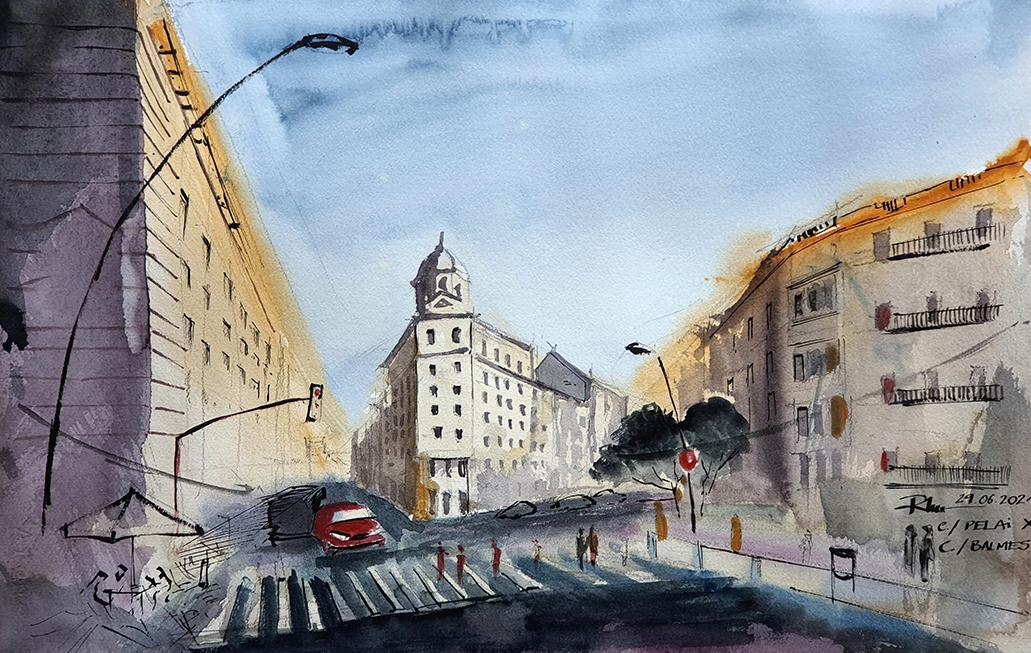 Carrer Pelai – Barcelona, 2021 watercolor, 38x58cm [ 150€ ]