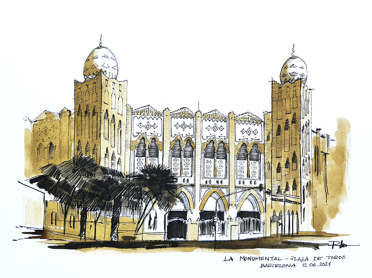 La Monumental – Plaza de Toros, 2021 sepia ink, 30x40cm [ 110€ ]