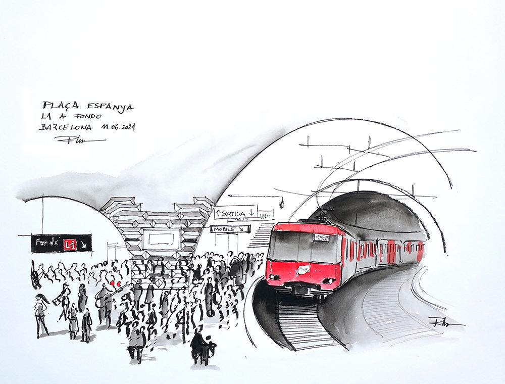 Metro L1 Barcelona Pl. Espanya, 2021, 32x42cm ink & watercolor [ 110€ ]