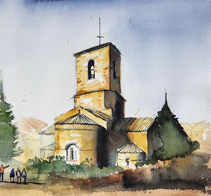 Santa Maria L'Estany, 2021, Watercolor, 38x58cm [ 220€ ]